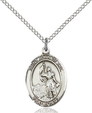 STERLING SILVER SAINT JOAN OF ARC MEDAL (OVAL)