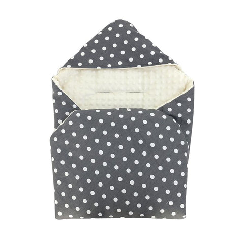 Little Love Blanket 3 Point- Grey And White Spot