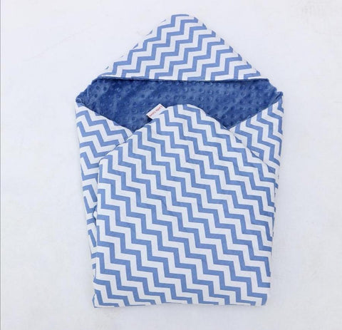 Little Love Blanket 5 Point- Blue Chevron