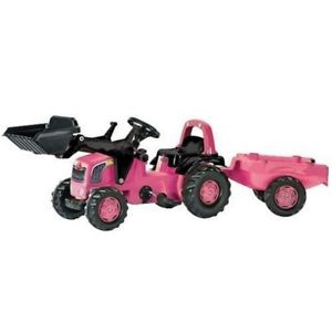 Rolly Medium Pink Tractor + Trailer + Scoop - David Rogers Toymaster