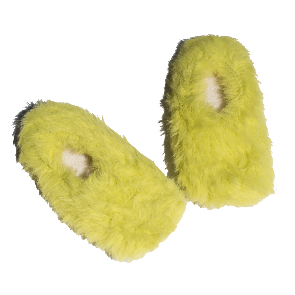 Pastel Lime Fluffy Slippers