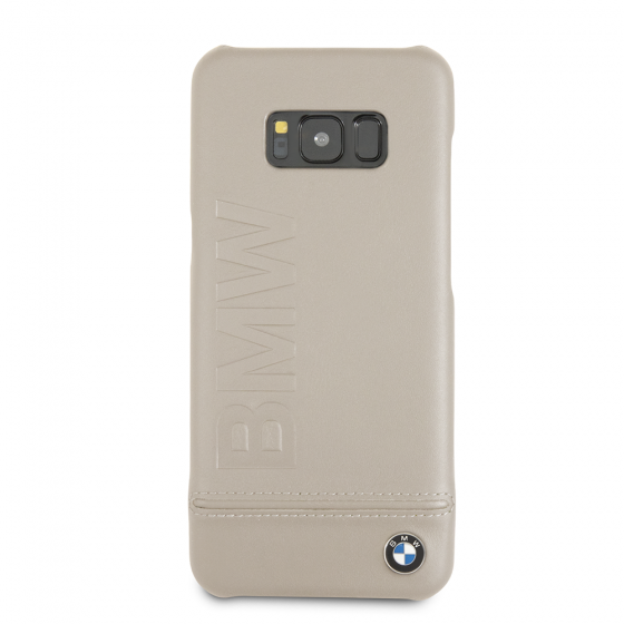 BMW Samsung Galaxy S8 Taupe Genuine Leather Hard Case
