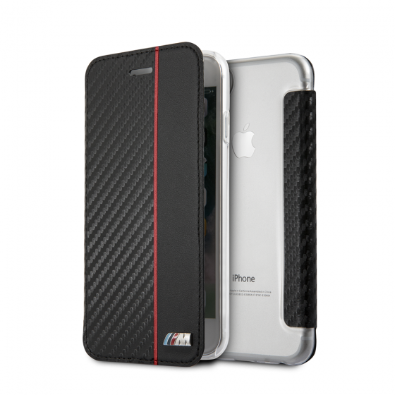 BMW iPhone 8 & iPhone 7 Booktype Hard Case with Red Stripe/ PU Carbon Fiber
