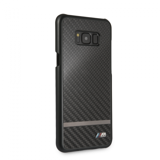 BMW Samsung Galaxy S8 Plus Black Real Carbon Fiber Hard Case/Matte Stripe
