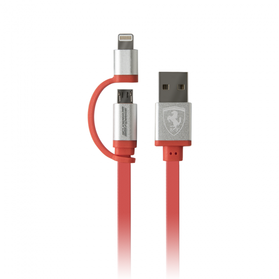 Ferrari 2 in 1 Red Charging Cable with MFI Lightning and USB cable - APPLE & ANDROID Devices