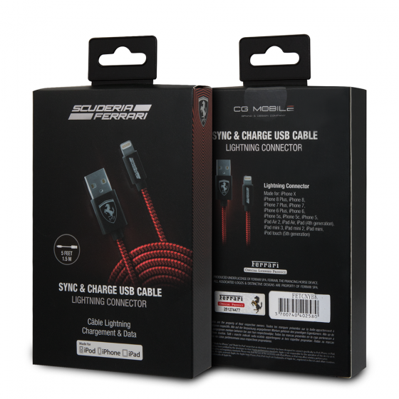 Ferrari Red Nylon MFI Lightning Sync and Charge Cable