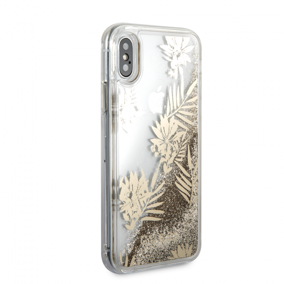 Guess Palm Spring Glitter Gold Hard Phone Case for iPhone X & iPhone XS