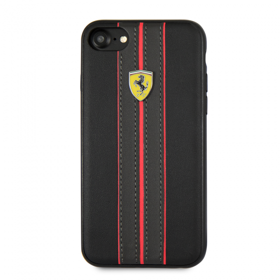 Ferrari iPhone 8 & iPhone 7, Leather Hard Case - Yellow Ferrari logo