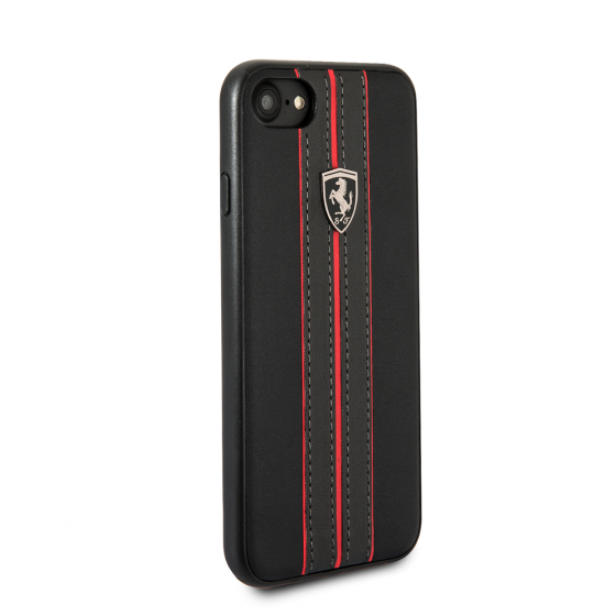 Ferrari iPhone 8 & iPhone 7, Leather Hard Case - Black Ferrari logo