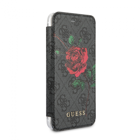 Guess Red Rose Gray Pattern PU Leather Book Type Folio Case for iPhone 8 & iPhone 7