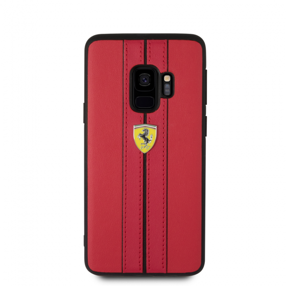 Samsung Galaxy S9 Ferrari - leather hard case - Black Ferrari logo