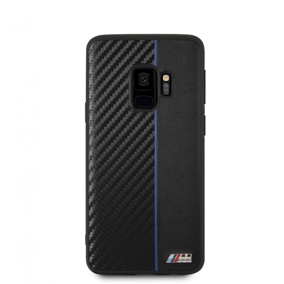 BMW Samsung Galaxy S9 Red Stripe/PU Carbon Fiber Hard Case