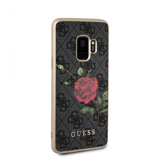 Guess Red Rose Gray Pattern PU Leather Phone Case for Samsung Galaxy S9