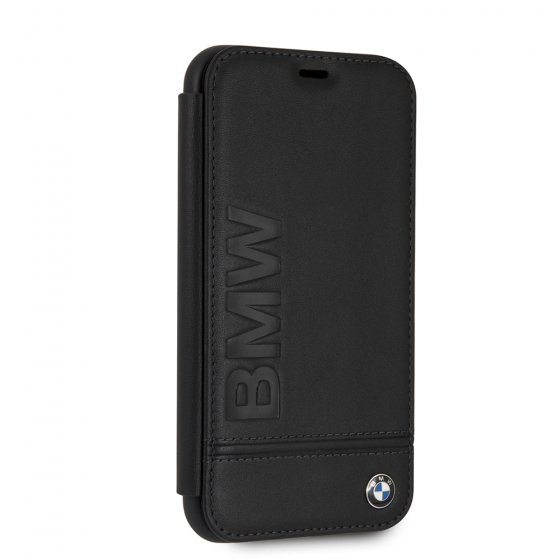 BMW iPhone XR Black Genuine Leather Hard booktype Case