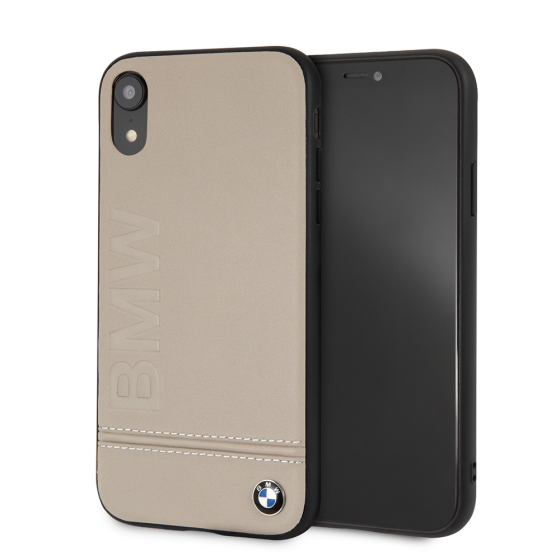iPhone XR BMW Taupe Genuine Leather Rigid Case