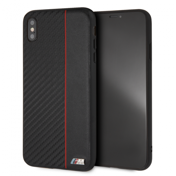 BMW iPhone XS Max Red Stripe/ PU Carbon Fiber Hard Case