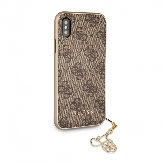 GUESS iPhone X & iPhone XS Gray Hard Case with Phone Charm
