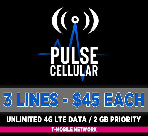 Basic Plan - 3 Lines Unlimited Talk, Text & High Speed LTE Data - 2 GB Priority