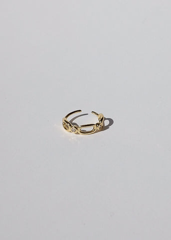 Bezel Bar Chain Earrings in Gold