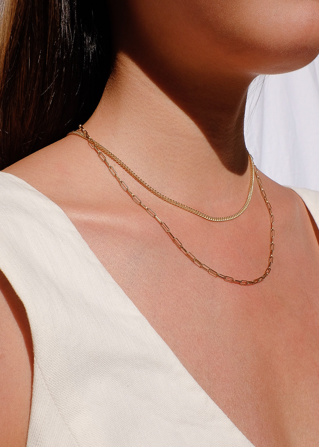 Rectangle Chain Necklace in Gold
