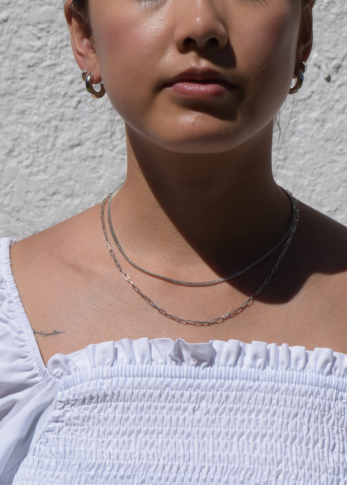 Rectangle Chain Necklace in Silver