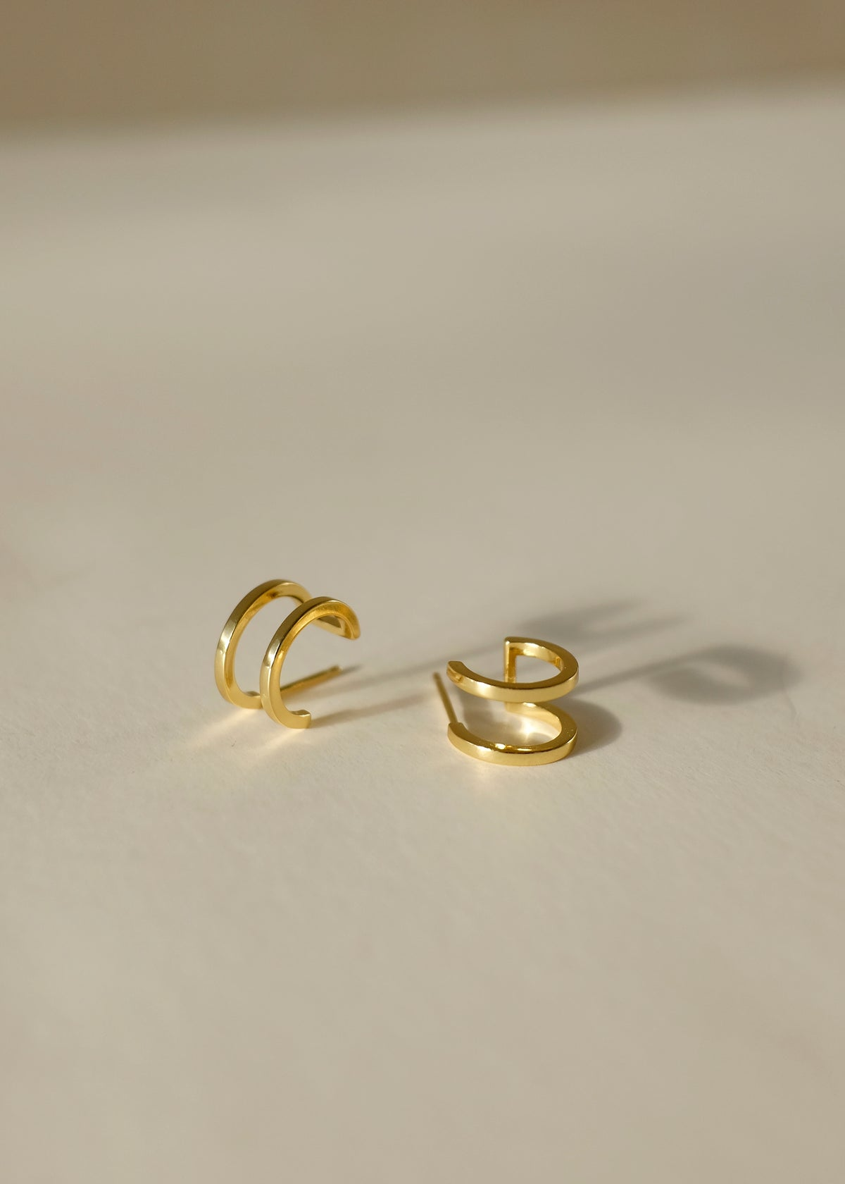 Double Band Hoop Earrings in Gold