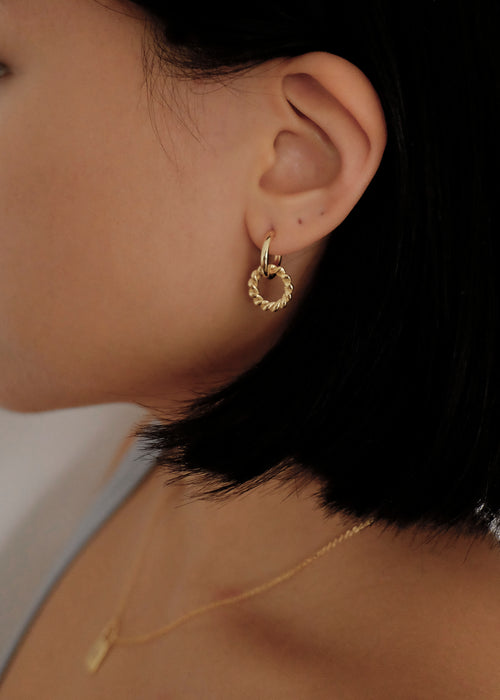 Double Hoop Earrings in Gold