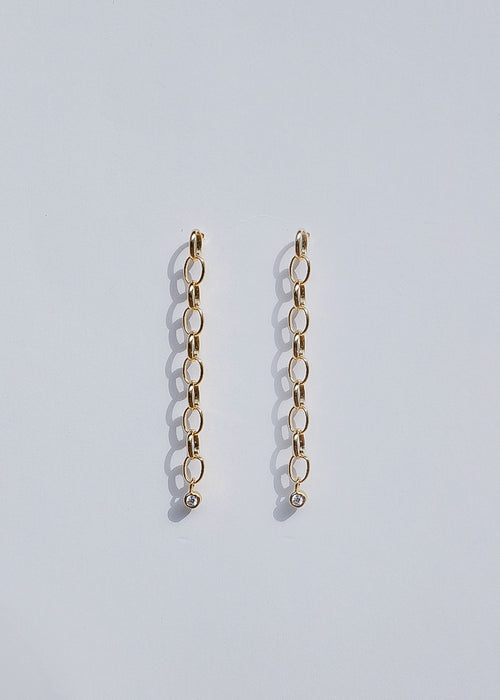 Drop Stone Chain Earrings in Gold