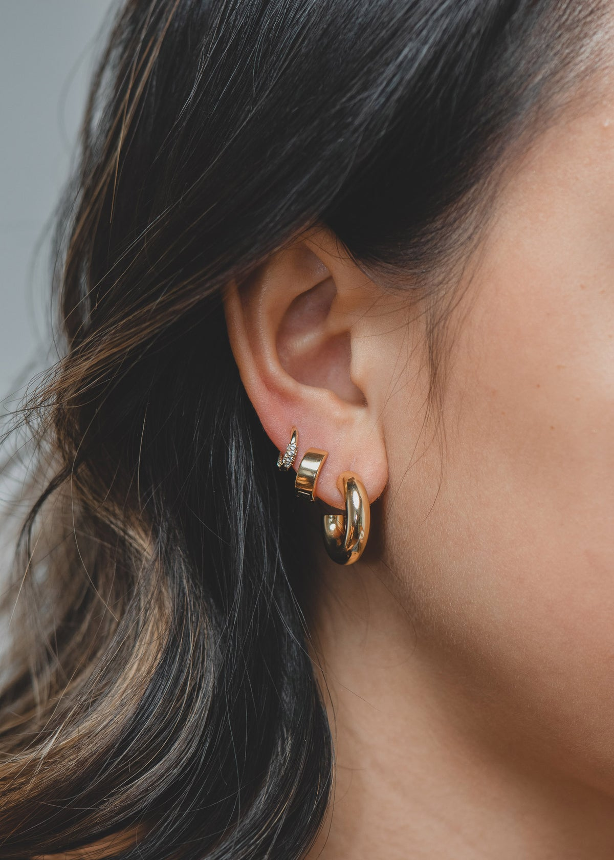 Small Huggie Hoops in Gold