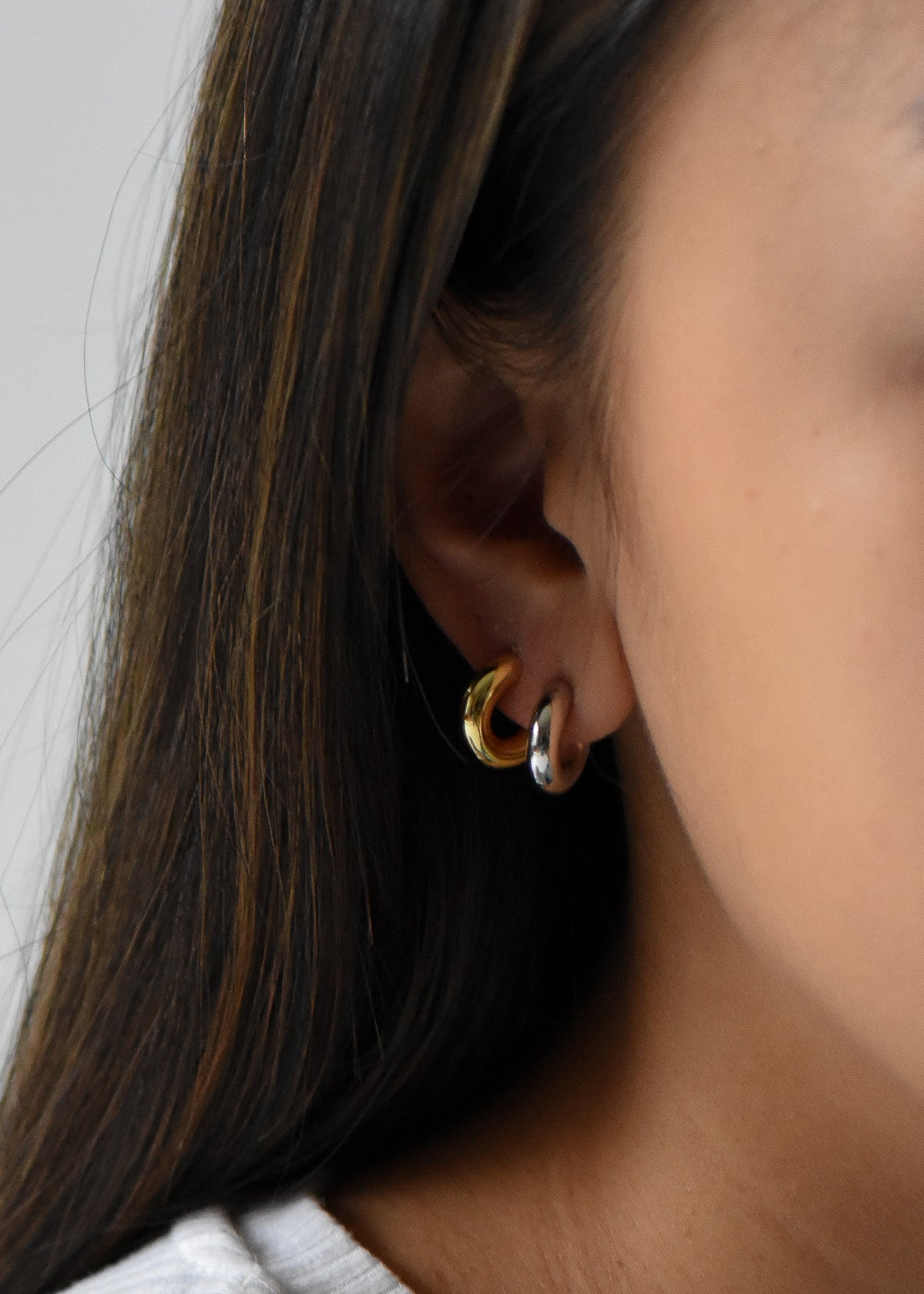 Mini Celine Hoops in Silver