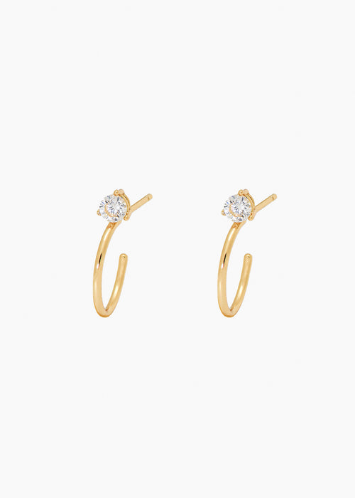 Stone Hoops in Gold