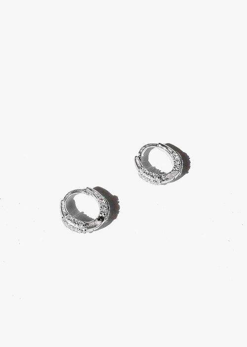 Cluster Stone Hoops in Silver