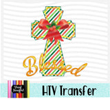 Blessed Striped Cross Heat Transfer Vinyl Ready To Press