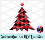 Buffalo Plaid Christmas Tree 1 Heat Transfer Vinyl Ready To Press
