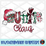 Christmas Claus Auntie Heat Transfer Vinyl Ready To Press