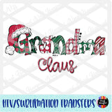 Christmas Claus Grandma Heat Transfer Vinyl Ready To Press