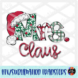 Christmas Claus Mrs Heat Transfer Vinyl Ready To Press