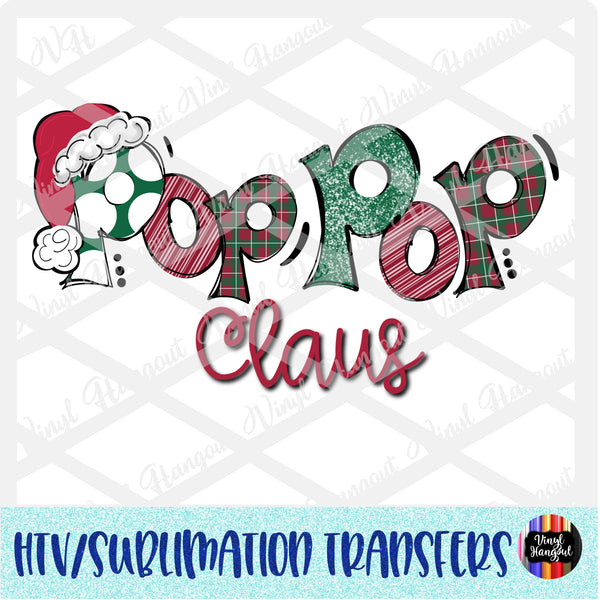 Christmas Claus Pop Pop Heat Transfer Vinyl Ready To Press