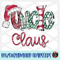 Christmas Claus Uncle Heat Transfer Vinyl Ready To Press