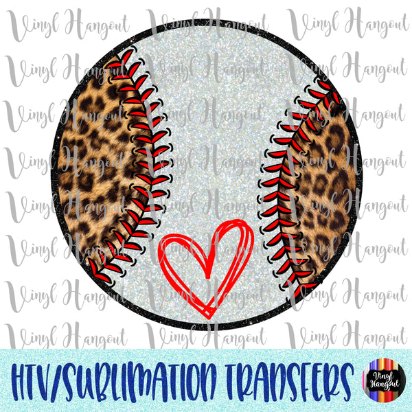 Leopard Glitter Baseball Heat Transfer Vinyl Ready To Press