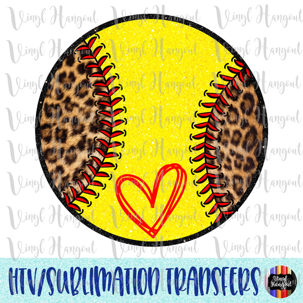 Leopard Glitter Softball Heat Transfer Vinyl Ready To Press