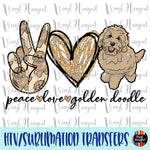 Peace Love Golden Doodle Heat Transfer Vinyl Ready To Press