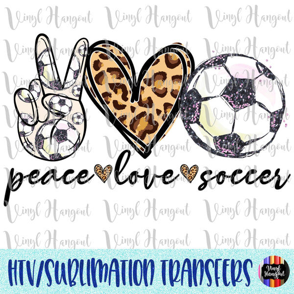 Peace Love Soccer Heat Transfer Vinyl Ready To Press