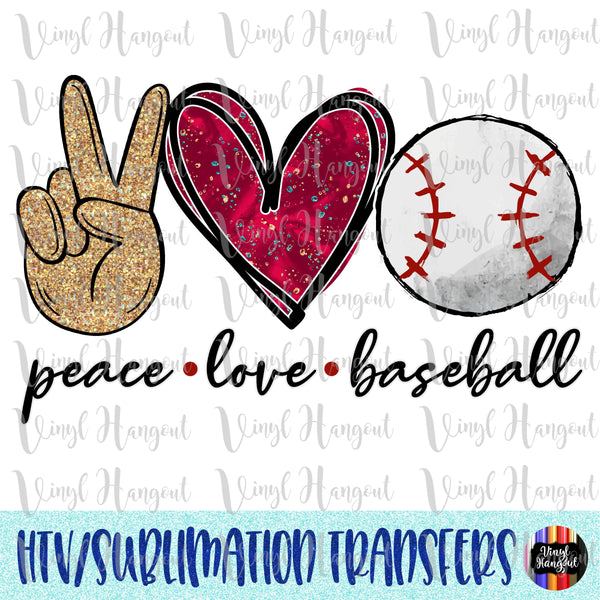 Peace Love Baseball Heat Transfer Vinyl Ready To Press