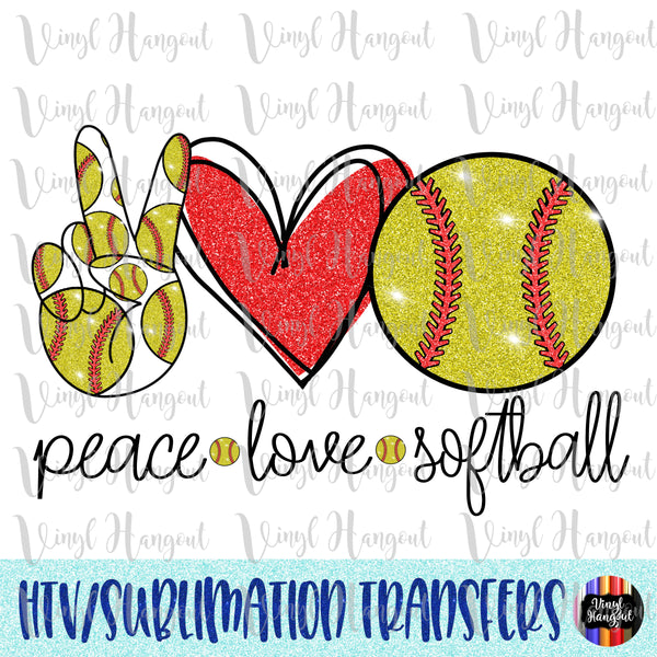 Peace Love Softball Heat Transfer Vinyl Ready To Press