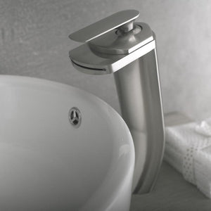 DAX-6606 / DAX SINGLE HANDLE WATERFALL VESSEL SINK FAUCET, BRASS BODY, BRUSHED NICKEL OR CHROME FINISH, 3-3/4 X 11-1/4 INCHES