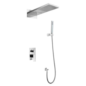DAX-A402 / DAX SHOWER SYSTEM, FAUCET SET, WITH SQUARE RAIN WATERFALL SHOWER HEAD AND HAND SHOWER, WALL MOUNT, BRASS BODY, CHROME FINISH