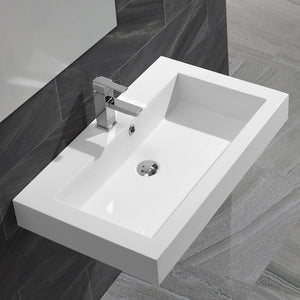 DAX-AB-1021 / DAX SOLID SURFACE RECTANGLE SINGLE BOWL BATHROOM VESSEL SINK, WHITE MATTE FINISH, 31-1/3 X 18-1/9 X 6-3/4 INCHES