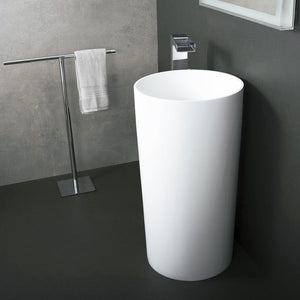 DAX-AB-1381 / DAX SOLID SURFACE ROUND PEDESTAL FREESTANDING BATHROOM SINK, WHITE MATTE FINISH, 17-3/4 X 17-3/4 X 32-7/8 INCHES