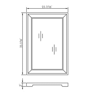 DAX-AB-1579 / DAX SOLID SURFACE RECTANGLE BEVEL BATHROOM VANITY MIRROR, WALL MOUNT WITH FRAME, WHITE FINISH, 23-2/5 X 35-1/16 X 2 INCHES